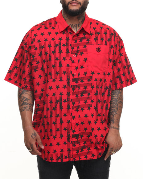 Rocawear Men Capital S/S Button-Down (B&T) Red 3XLB
