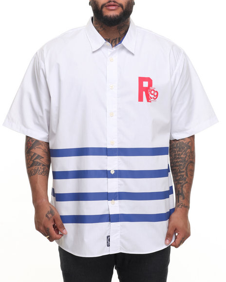 Rocawear Men Main Stage S/S Button-Down (B&T) White 3XLB