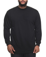 Basic Essentials - FRENCH TERRY CREW NECK SWEATSHIRT W/ FAUX LEATHER TRIM (B&T)