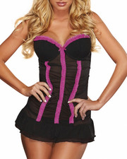 Women - Cleavage Lace Chemise Set