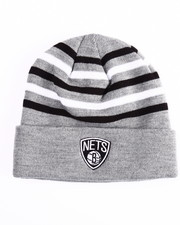 Hats - Brooklyn Nets Team Stripes Cuffed Knit Beanie