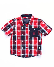 Tops - S/S DIP N' DOTS PLAID WOVEN (2T-4T)