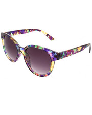 Women - Rounded Retro Glam Floral Crystal Sunglasses