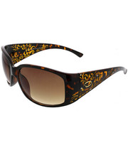 Sunglasses - Wrapped Wide Temple Rectangle w/ Laser Design & Stones
