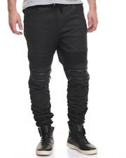 Men - Moto - Style Twill Joggers W/ Ruched Bottoms