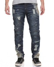 Men - Bleached Moto - Style Denim Jeans W/ Zipper Trim