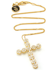 Jewelry & Watches - 14K Gold Cross CZ Flower Cluster Necklace