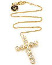 Accessories - 14K Gold Cross CZ Flower Cluster Necklace