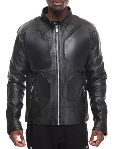 Hudson Nyc Men Super Moto Premium Leather Jacket Black Large