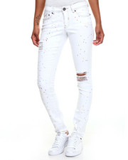 Women - Paint Splatter Destructed Skinny Jean