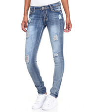 Women - Scratched Design Sandblasted Skinny Jean