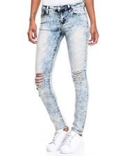 Women - Cloud Wash Knee Rips Stretc Skinny Jean