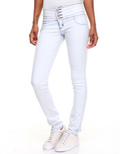 Women - Buttlifter Zip Fly Bleached Wash Stretch Skinny Jean