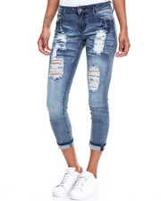 Women - Destructed Sandblasted Stretch Skinny Roll-Up Jean