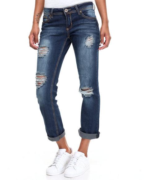 Fashion Lab Women Heavy Stitch Destructed Cropped Skinny Jean Dark Wash 3/4