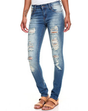 Women - Ripped Design Stretch Skinny Jean