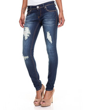 Women - Heavy Stitch Studded Pockets Destructed Skinny Jean