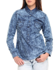 Women - Marble Wash Fitted Cotton Denim Shirt