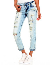 Women - Destructed  Cloud Wash Stretch Skinny Roll-Up Jean