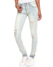 Women - Destructed Ice Powder Wash Stretch Skinny Jean
