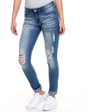 Jeans - Rips Sanblasted Stretch Skinny Jean