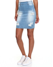 Women - Rips Sandblasted Stretch Denim Mini Skirt