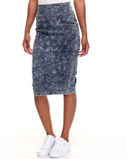 Women - Marble Wash Zip Back Stretch Denim Pencil Skirt