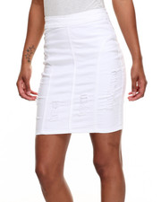 Women - Fitted Ripped Denim Stretch Mini Skirt