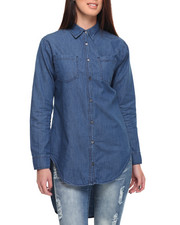 Women - Oversize Boyfriend Fit Cotton Denim Shirt