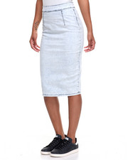 Women - Bleach Wash Zip Back Stretch Denim Midi Skirt