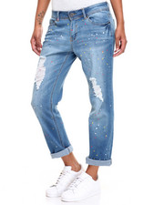 Women - Destructed Mini Roll Tailored Boyfriend Jean