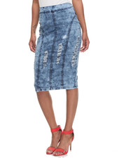 Women - Rippped Princess Stretch Denim Midi Skirt
