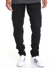 Jeans & Pants - BLACK WAX TAPERED CARGO DENIM JEANS
