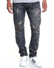 Jeans & Pants - OIL INDIGO BIKER DENIM JEANS