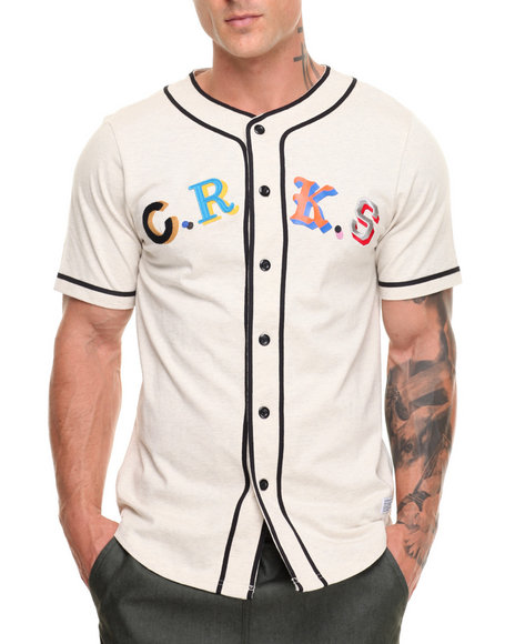 Crooks & Castles Men Maison Baseball Jersey Cream Large
