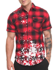 Shirts - Splatter Plaid S/S Button-Down