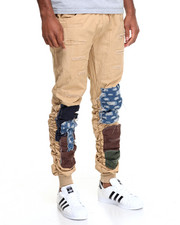 Jeans & Pants - American Stitch Patchwork Rip - And - Repair Bungee Twill Joggers