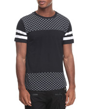 Shirts - Grid Extened Hem Crew