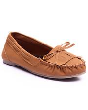 Footwear - Bow Front Faux Suede Moc Shoe