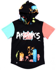 Boys - S/S PAINT STROKE ELONGATED HOODY (4-7)