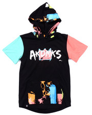 Akademiks - S/S PAINT STROKE ELONGATED HOODY (8-20)