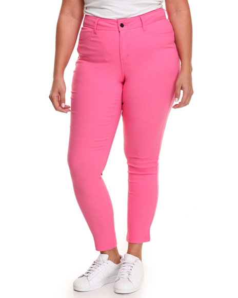 Fashion Lab Women Buttlifter Stretch Skinny Jegging (Plus) Pink 3X