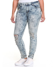 Jeans - Acid Wash Knee Rips Skinny Jean (Plus)