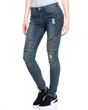 Jeans - Denim Zip Trim Moto Skinny Jean