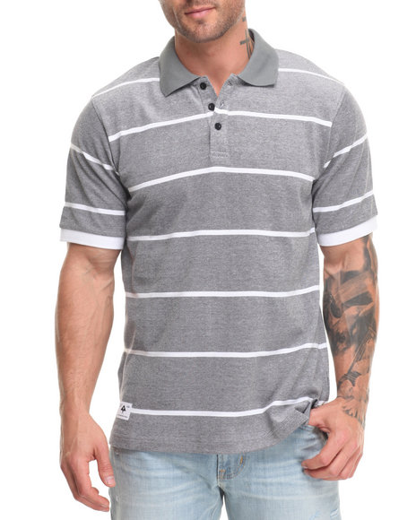 Lrg Men Research Collection Striped Polo Black Small