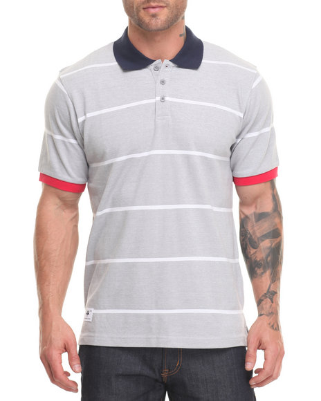 Lrg Men Research Collection Striped Polo Grey Small
