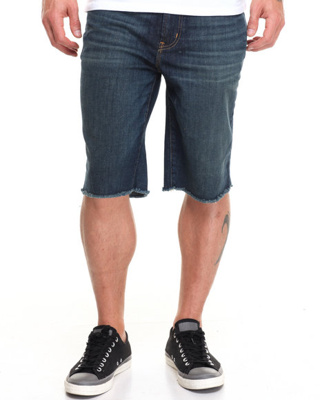 Lrg Men Rc Ts Raw Edge Denim Short Dark Wash 32
