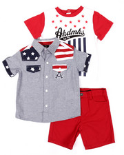Sets - 3 PC AMERICANA WOVEN, TEE, & SHORTS (INFANT)