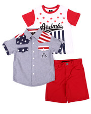 Sets - 3 PC AMERICANA WOVEN, TEE, & SHORTS (4-7)