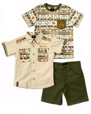 Sets - 3 PC AZTEC WOVEN, TEE, & SHORTS (4-7)